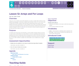 CS Discoveries 2019-2020: Physical Computing Lesson 6.12: Arrays and For Loops