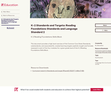 K–2 Standards and Targets: Reading Foundations Standards and Language Standard 2