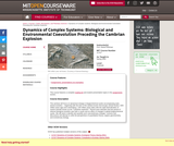Dynamics of Complex Systems: Biological and Environmental Coevolution Preceding the Cambrian Explosion, Spring 2005