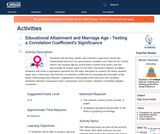Educational Attainment and Marriage Age - Testing a Correlation Coefficient's Significance