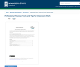 Professional Fluency: Tools and Tips for Classroom Work