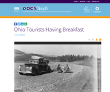 View of Ohio tourists having early breakfast on parking Area 460 to 463. The view is ahead (west)