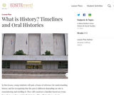 What is History? Timelines and Oral Histories