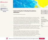 Implementing the K-2 Reading Foundations Skills Block