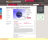 Special Topics in Supply Chain Management, Spring 2005