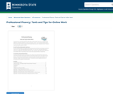 Professional Fluency: Tools and Tips for Online Work