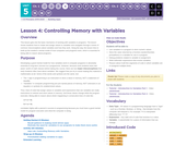 CS Principles 2019-2020 5.4: Controlling Memory with Variables