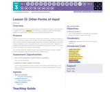 CS Discoveries 2019-2020: Interactive Animations and Games Lesson 3.13: Other Forms of Input